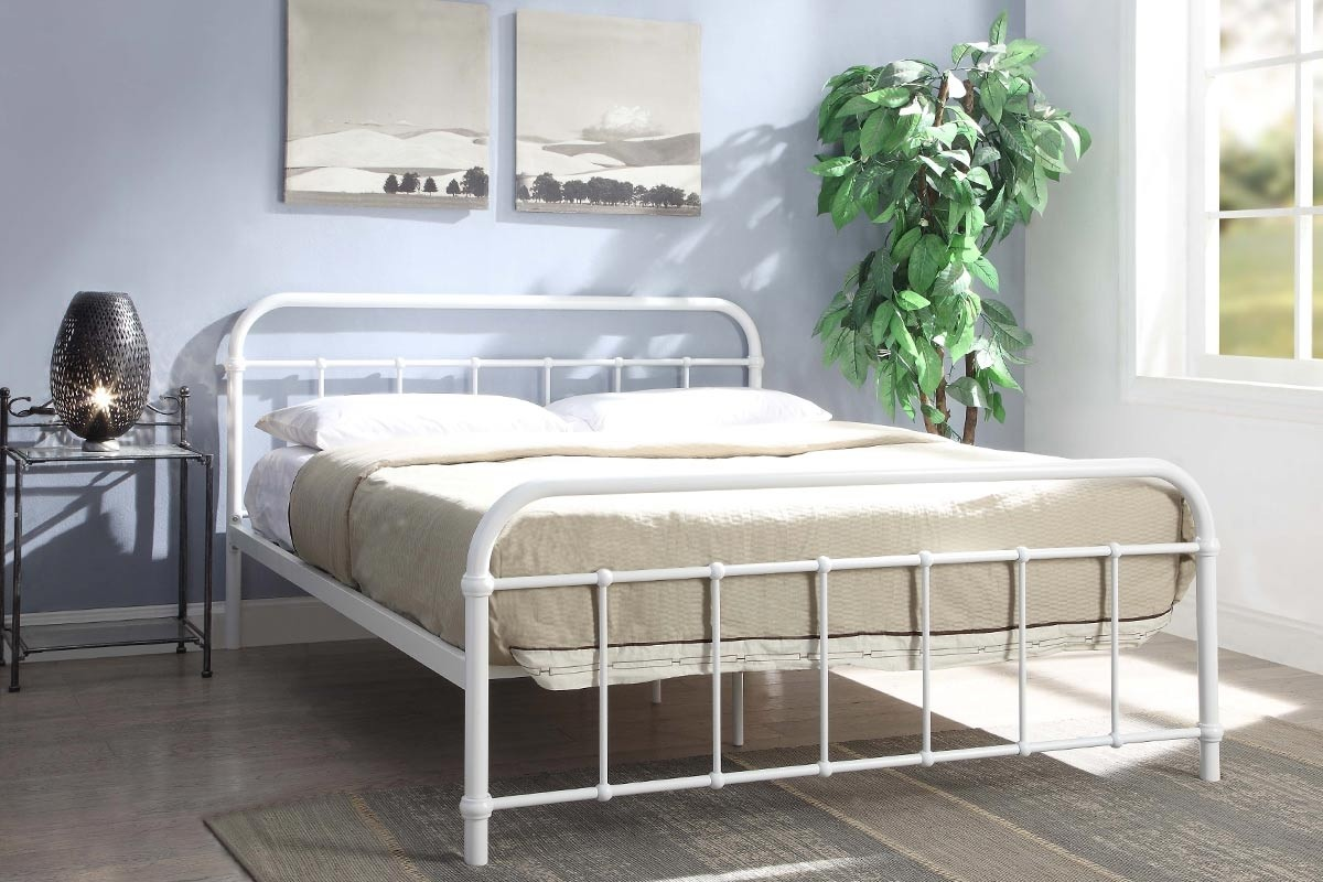 new product 7195c c8029 Details about Henley Traditional White Metal Hospital Dorm Style Bed Frame  Double 4ft6