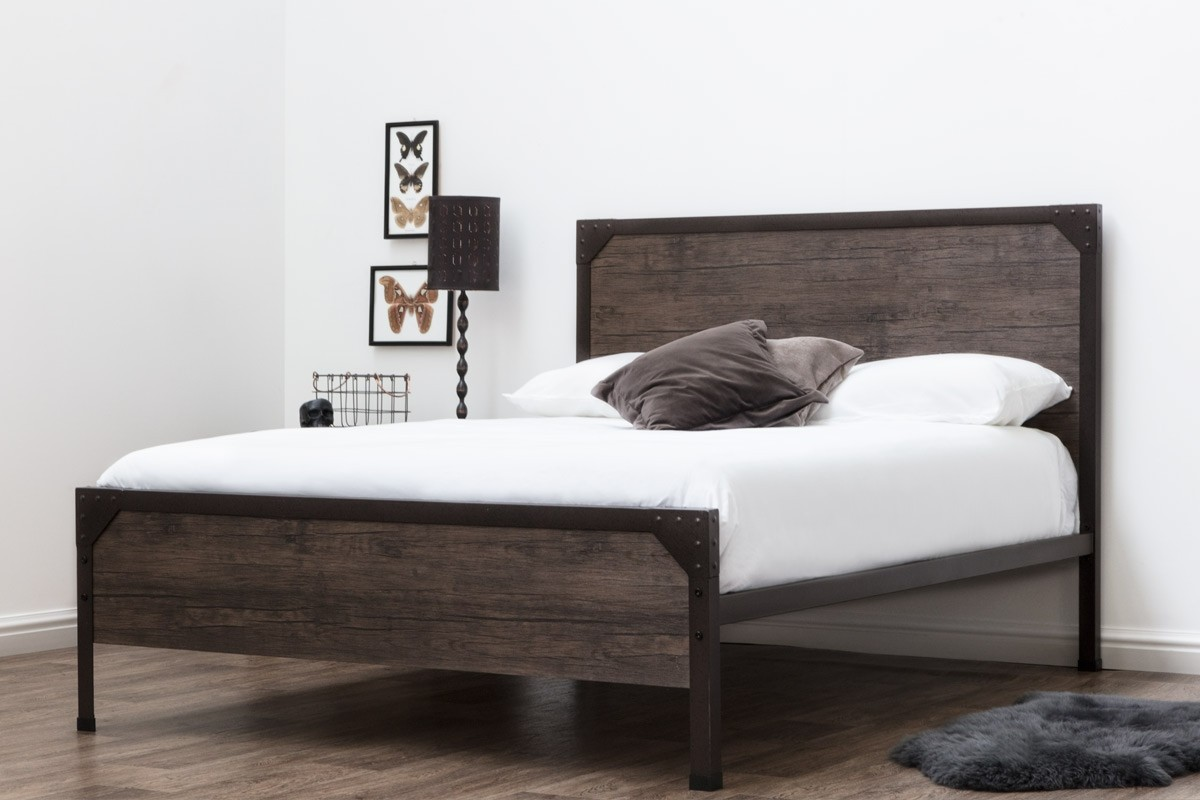 Brown Metal Dark Rustic Wood Panelled