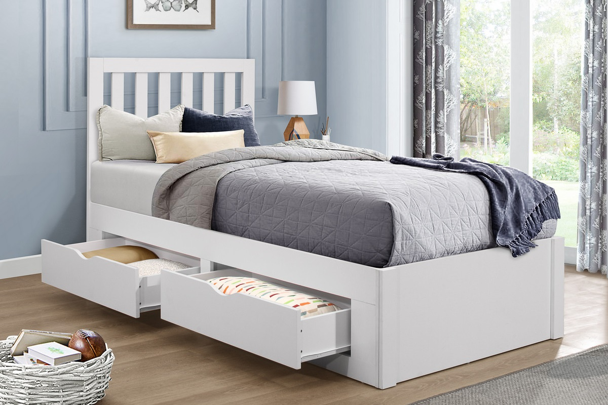 Details About Appleby Traditional White Wooden 3ft Single Bed Frame Storage Drawers
