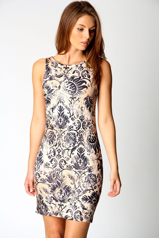 Boohoo Rosie Printed Bodycon Sleeveless Hip Length Dress