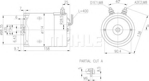 Mahle Electric Motor Z1660 24v 220kw Im0341 Amj5859 24v 22kw
