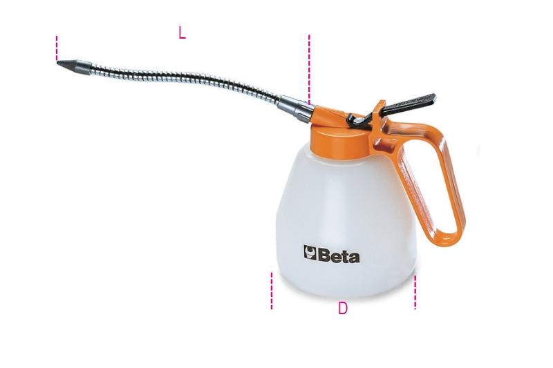 Beta Tools 1753-Plastic Pressure Oil Cans Flexible Spouts 200 Cc 65 D mm 190 mm