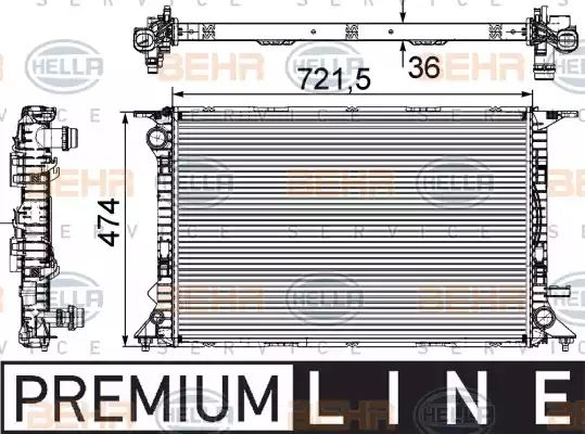 Single Genuine Hella RADIATOR ENGINE COOLING 8MK376706-514 OE 7700272472