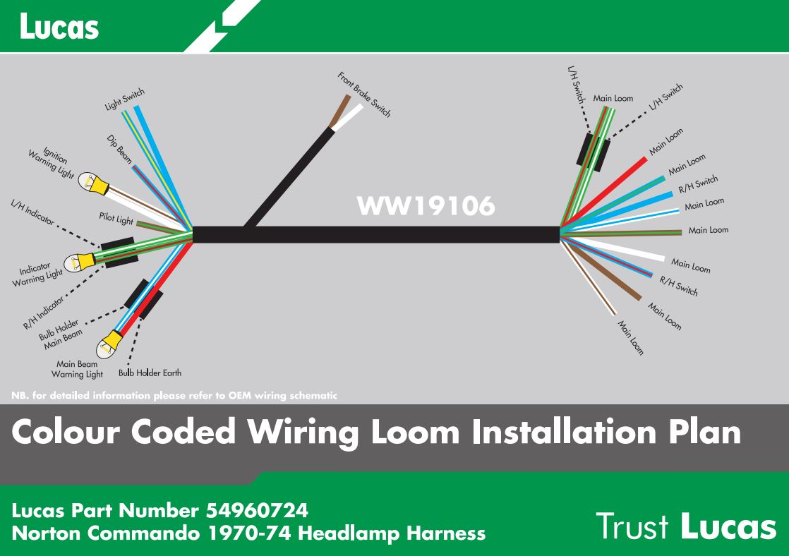 Details About Lucas Headlamp Wiring Harness Norton Commando 54960724 Motorcycle Wiring Loom