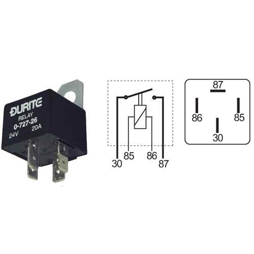 Durite - Relay Mini Make  Break 30 Amp 12 Volt Cd1