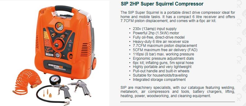 Details About Sip 05293 Super Squirrel 2 0hp 6 Litre Receiver 230v Packaged Air Compressor