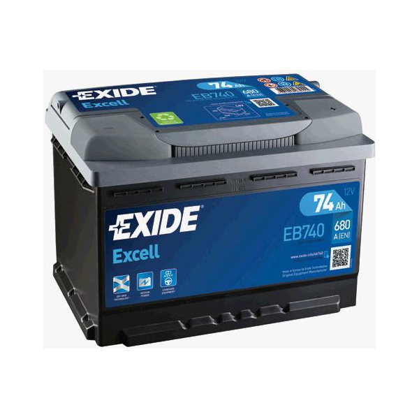 1x exide excell 74ah 680cca 12v type 067 car battery 3 year warranty eb740 ebay. Black Bedroom Furniture Sets. Home Design Ideas