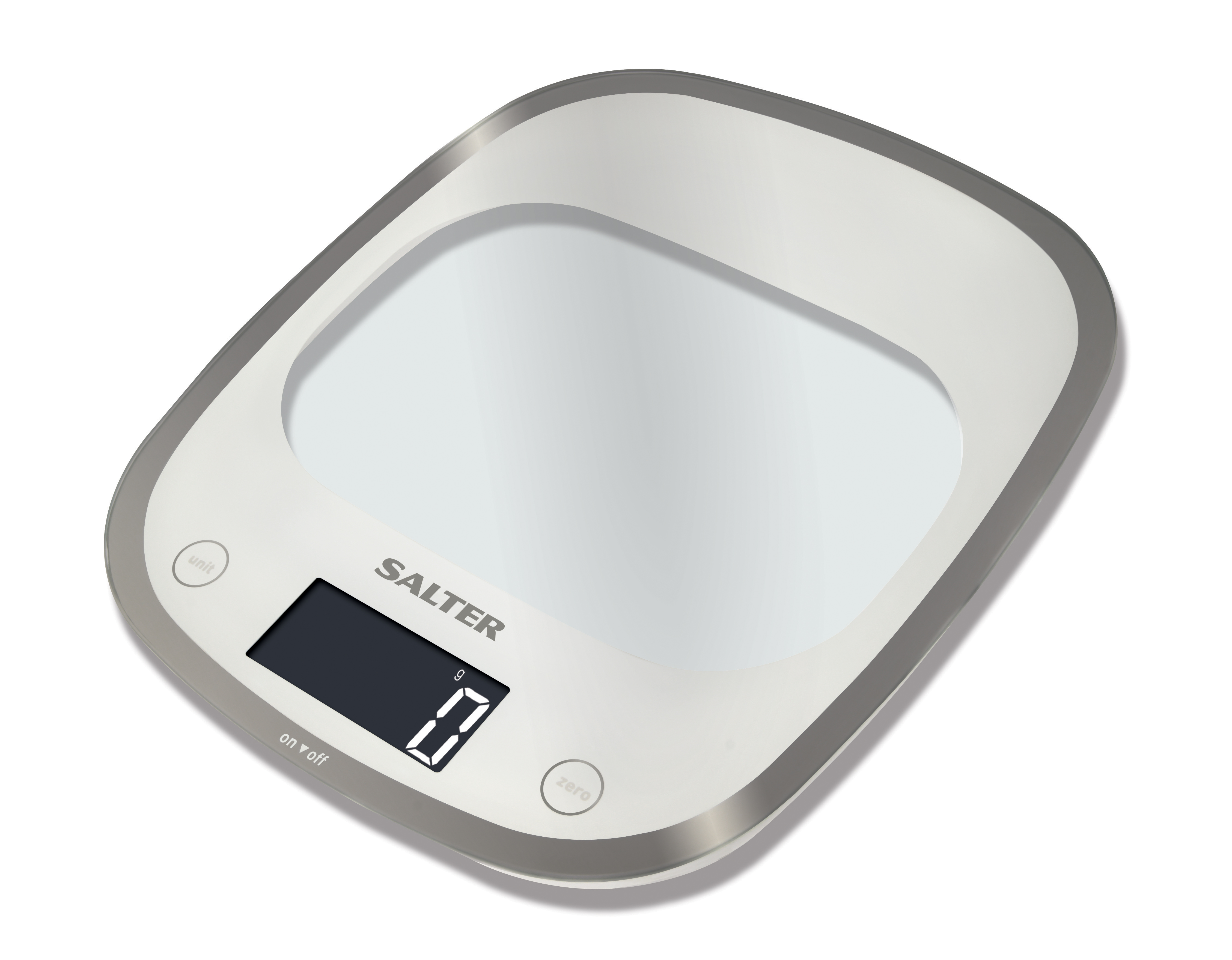 Salter 5kg Curve Glass Electronic Digital Kitchen Scale - White ...