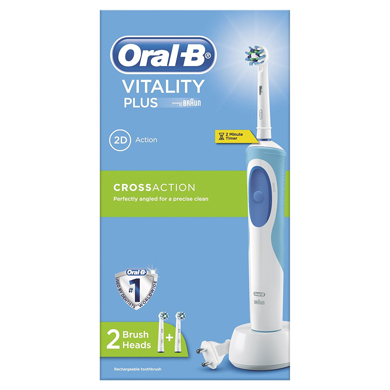 Details about Oral-B Pro Vitality Plus CrossAction Electric Toothbrush with  2 Minute Timer A