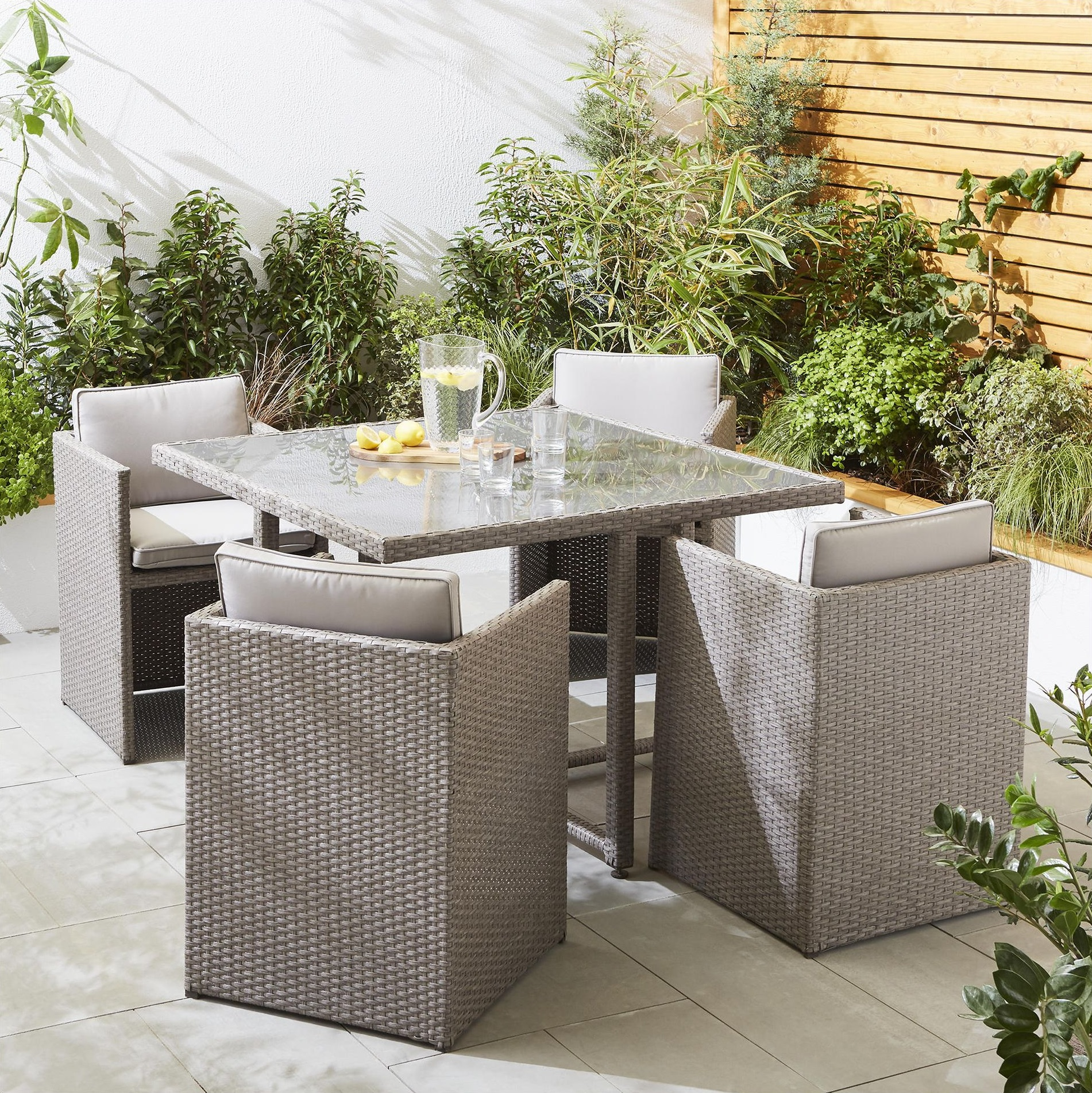 Tesco San Marino 5 Piece Rattan Cube Garden Dining Table & 4 Chair