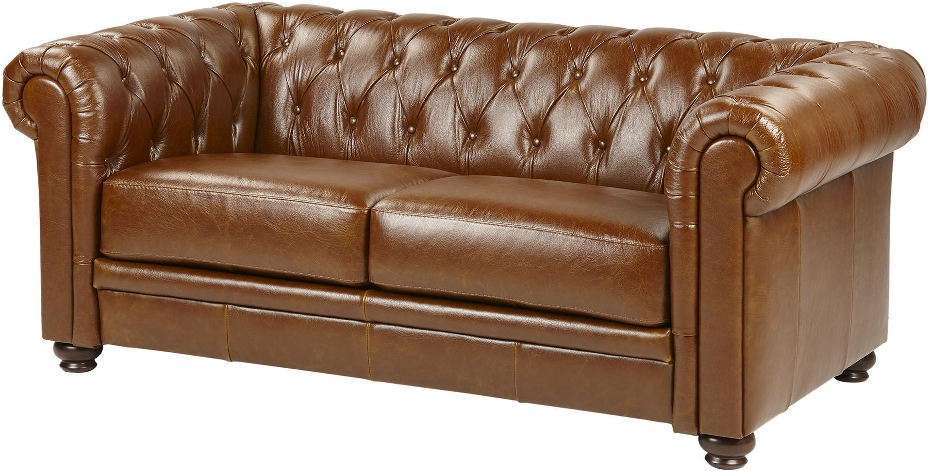 Mortimer Medium 2 5 Seater Real Leather Chesterfield Sofa Tan Brown Ebay