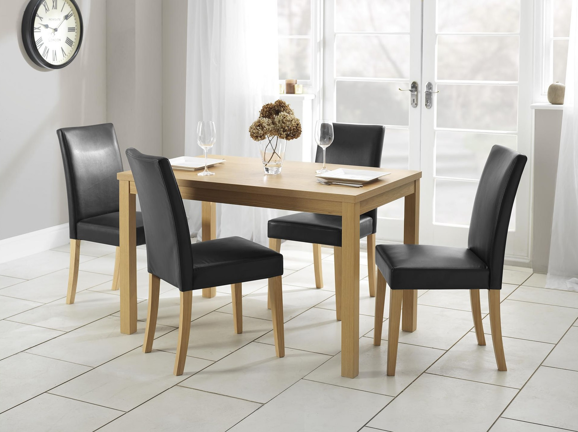 NEW Tesco Banbury 4 Leather Effect Seat Oak Veneer Dining Table Set