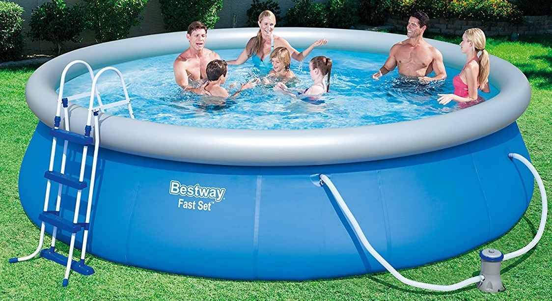 new bestway 15ft x 42 fast set swimming pool with pump ladder blue 6942138929850 ebay. Black Bedroom Furniture Sets. Home Design Ideas