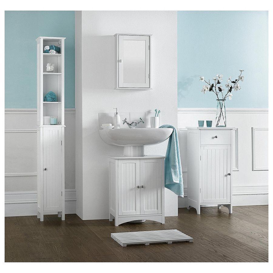 Southwold mobiletto da bagno con singolo specchio legno bianco lingua groove ebay - Mobiletto con specchio per bagno ...