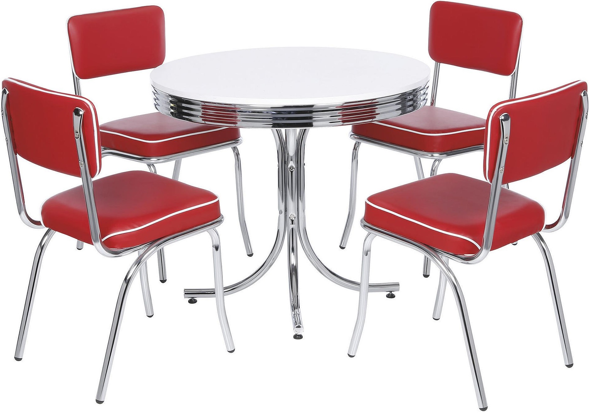 NEW Tesco Rydell American Diner Style Chrome Plated Table & 4