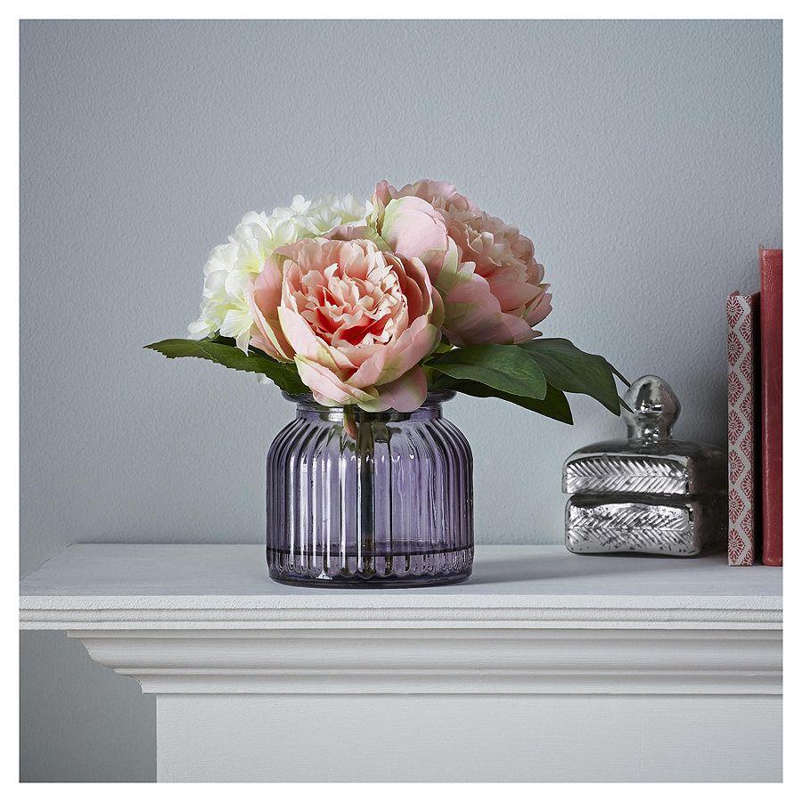 neu fox ivy k nstlich pfingstrose und hortensie in gerippt vase wohndeko ebay. Black Bedroom Furniture Sets. Home Design Ideas