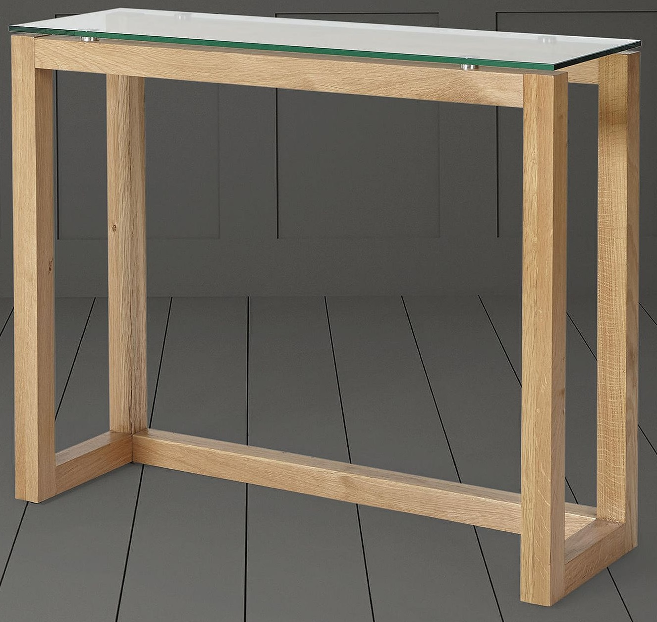 New Tesco Stanbury Solid Oak Glass Top Console Table Ebay ~ Sofa Table With Glass Top