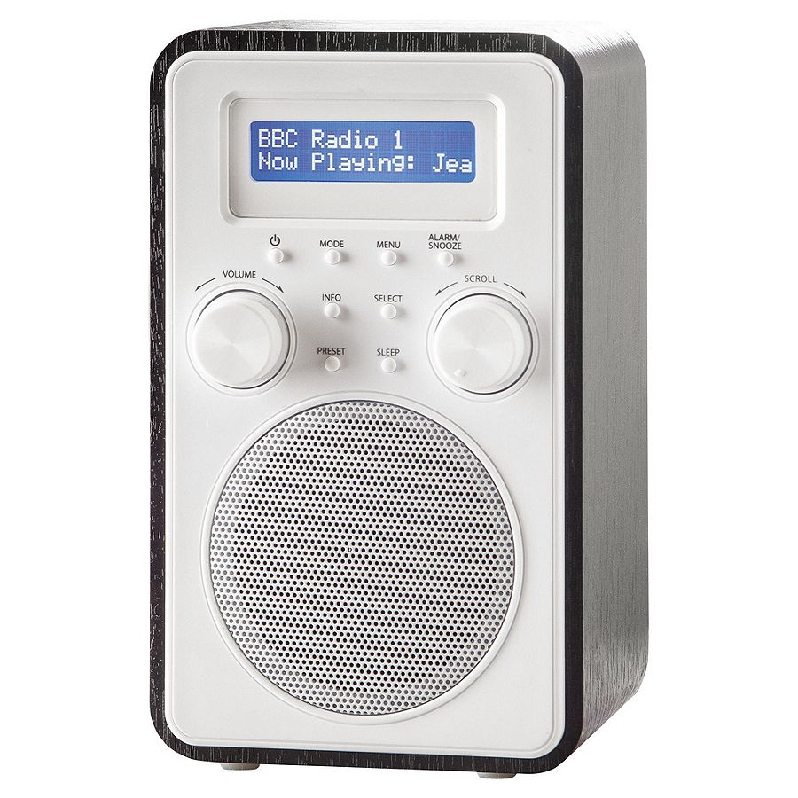 tesco dr1502b wooden tower dab fm portable digital radio black a ebay. Black Bedroom Furniture Sets. Home Design Ideas