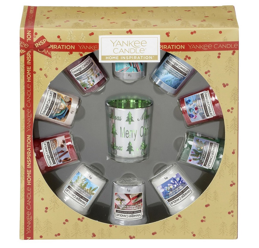 yankee candle christmas gift set 10 votive candles and. Black Bedroom Furniture Sets. Home Design Ideas