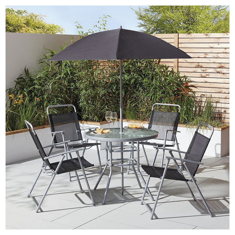 Details about new tesco hawaii 6 piece garden furniture set table with 4 chairs parasol