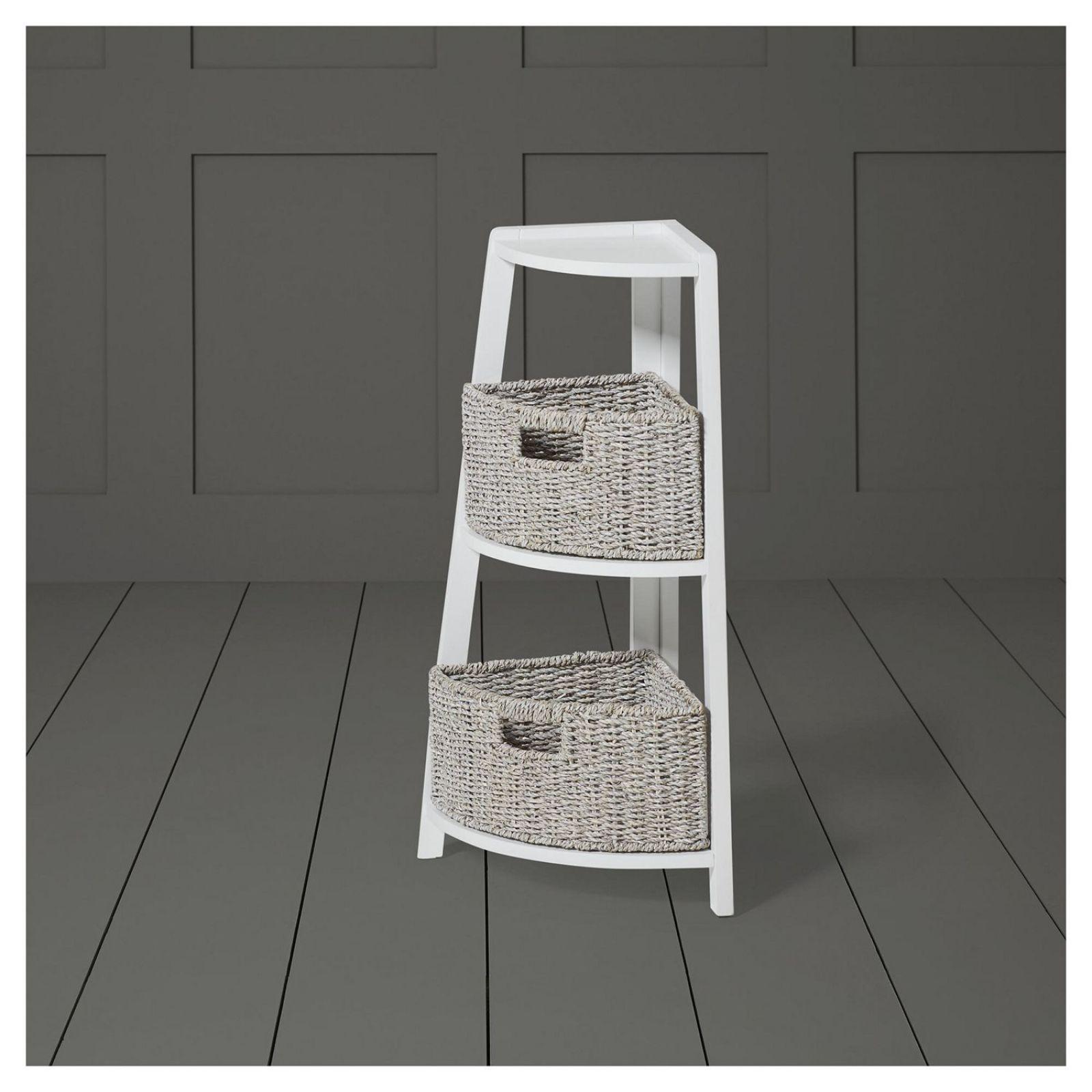 New Tesco 3 Tier Bathroom Corner Unit With Storage Baskets