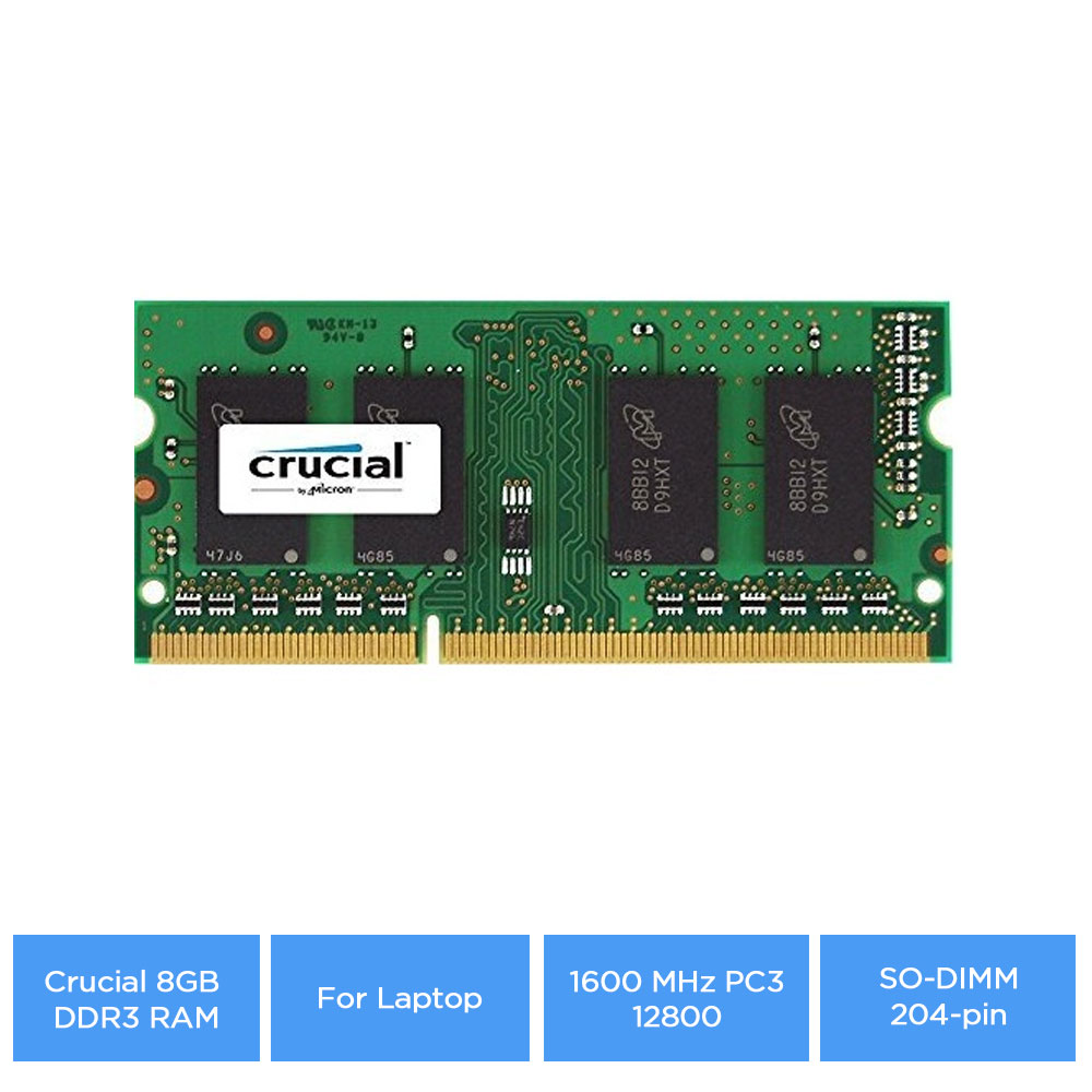 Details about Crucial 8GB DDR3 RAM for Laptop 1600 MHz PC3-12800, SO-DIMM  204-pin, Unbuffered
