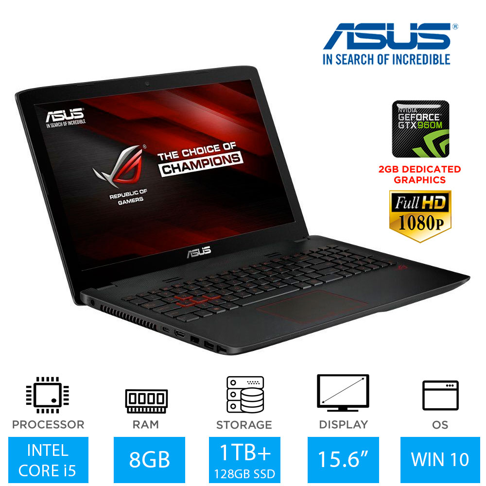 asus rog gl552vw 15 6 gaming laptop intel core i5 6300hq 8gb ram 1tb 128gb ssd ebay. Black Bedroom Furniture Sets. Home Design Ideas