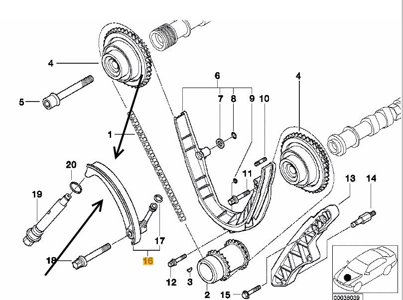 Bmw E53 X5 4 4i M62 Eng 4 6is Lower Timing Chain Tensioner Febi