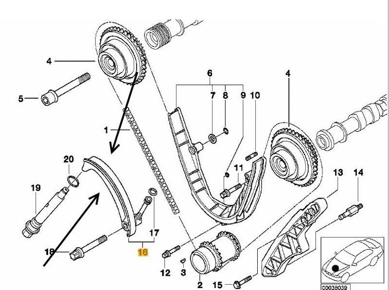 Bmw E38 735i740i M62 Engines Lower Timing Chain Tensioner Febi