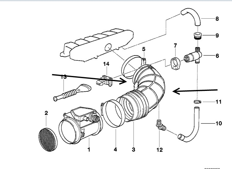 Details about BMW Genuine Air Flow Sensor Rubber Boot/Tube E36 320-328 on