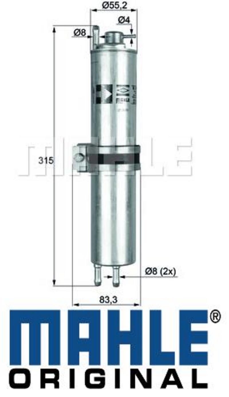 For BMW E65 E66 745i 750i V8 In-Line Fuel Filter Mahle 16126750475