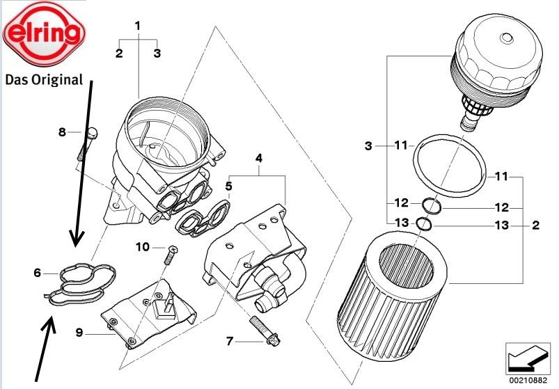 OES Genuine Oil Filter Housing Gasket for select Jaguar models