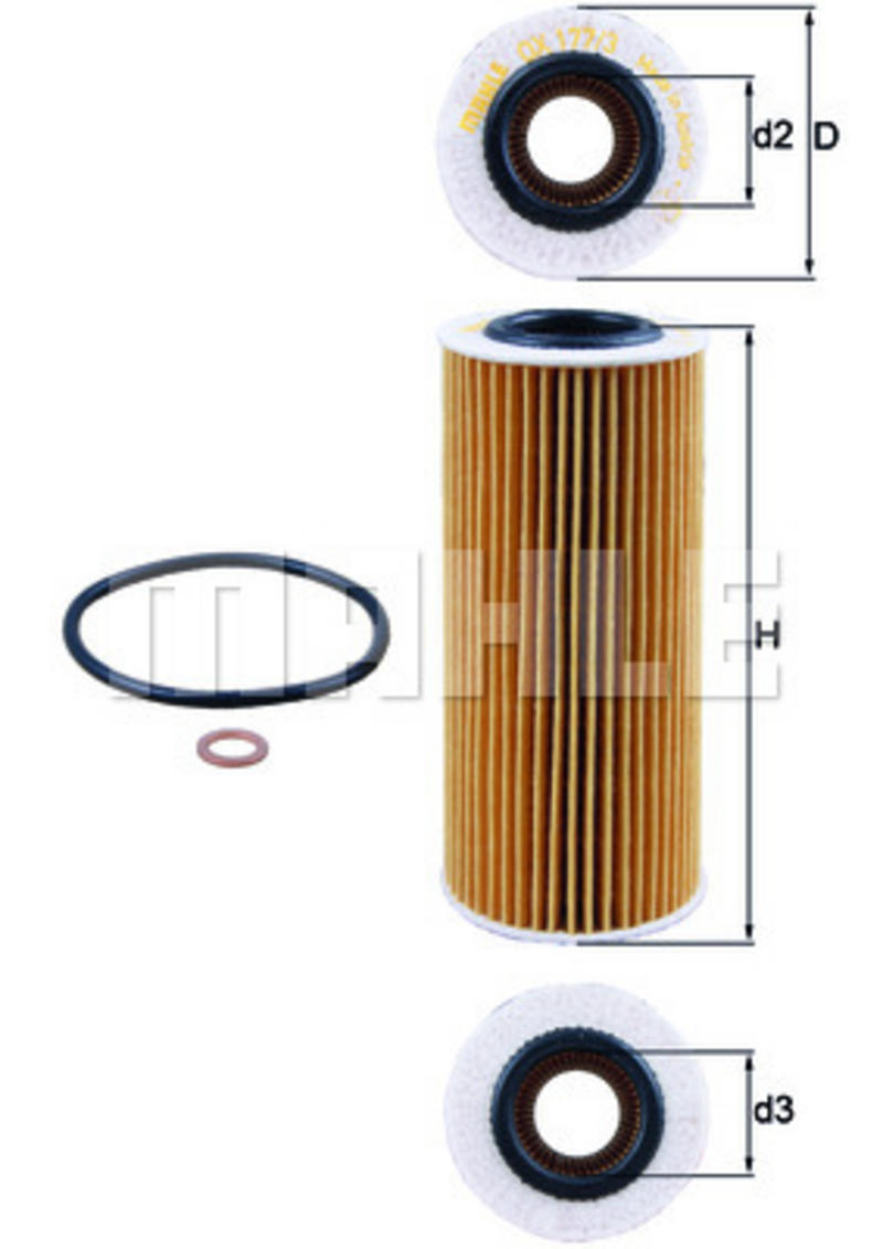 MAHLE OX177/3D Oil Filter Element