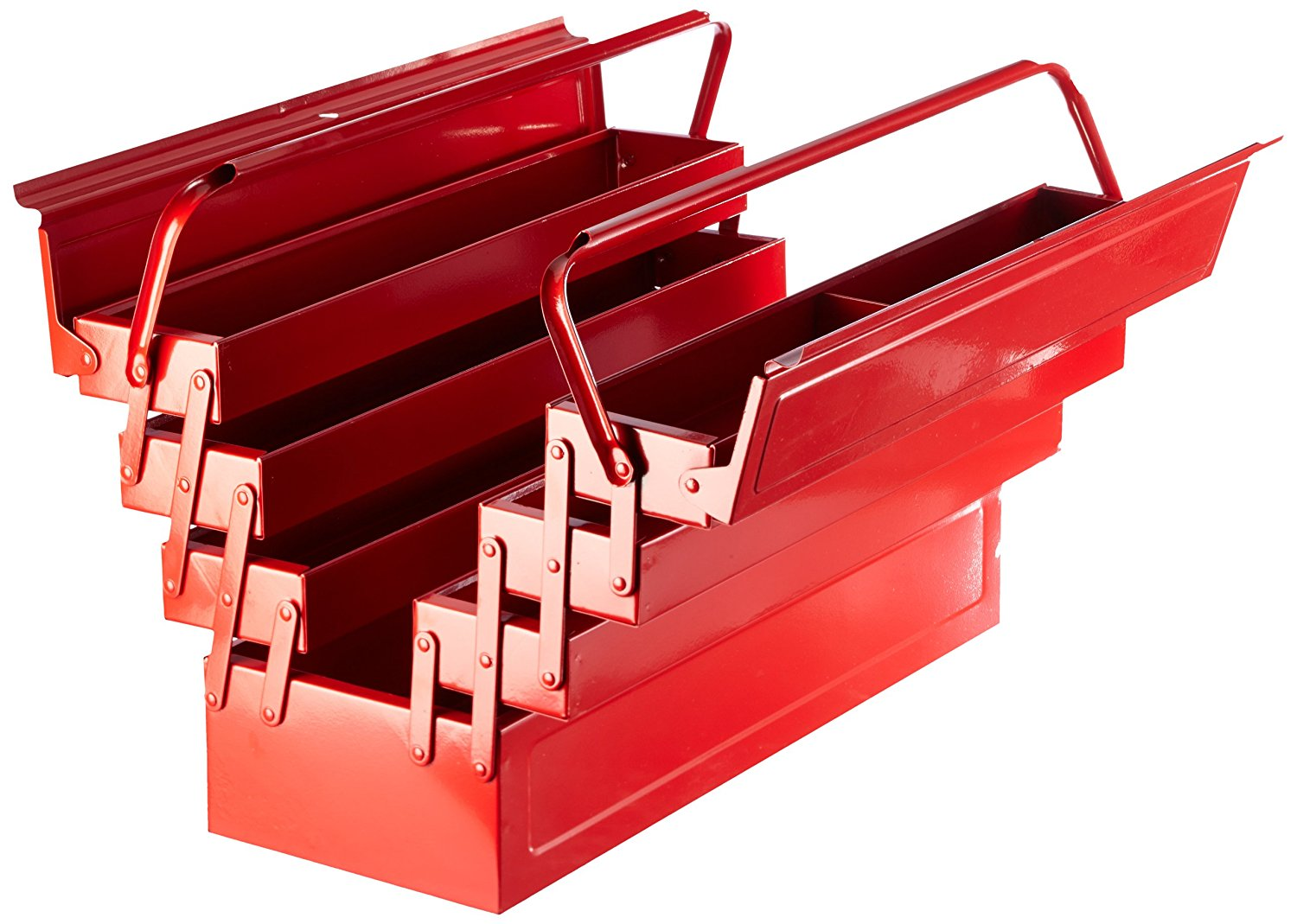 laser tools clearout red metal toolbox tool box cantilever 7 tray