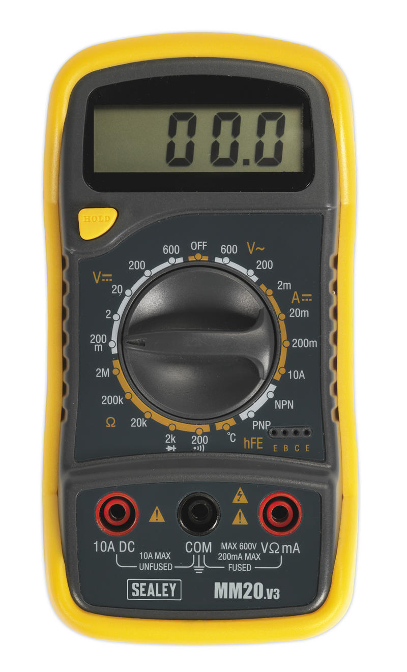 SEALEY MM20 CAR Digital Multimeter 8 Function Leads Probes + Thermocouple LCD