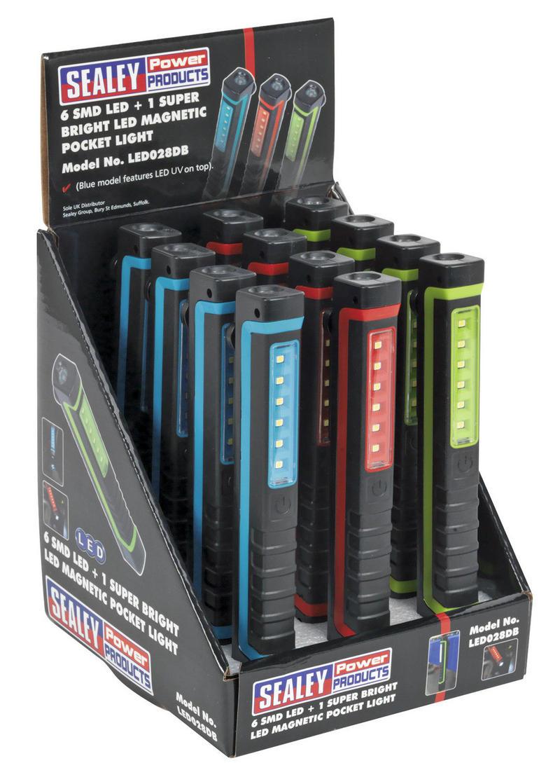 Sealey LED028DB Magnetic Pocket Light 6 SMD 1 UV LED Display Box of 12