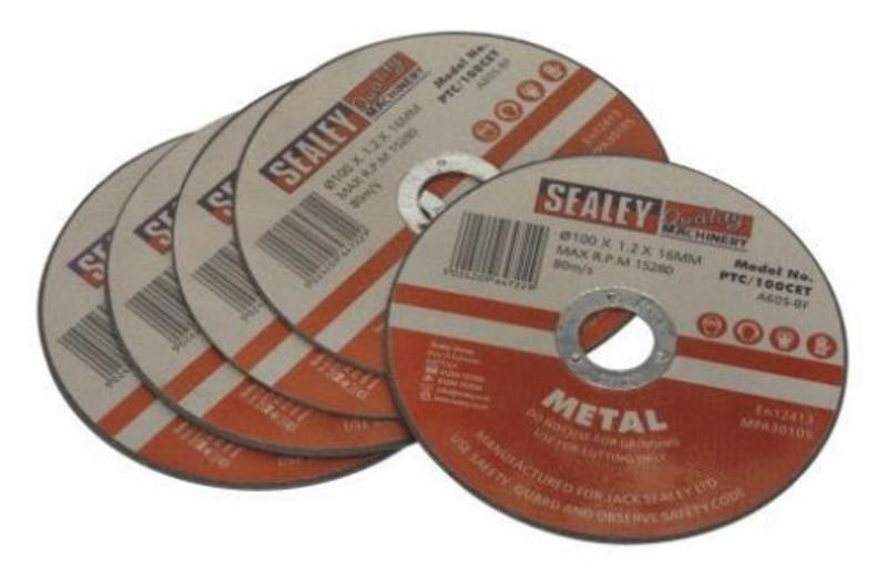 Sealey PTC/100CET5 Cutting Disc Ø100 x 1.2mm 16mm Bore Pack of 5