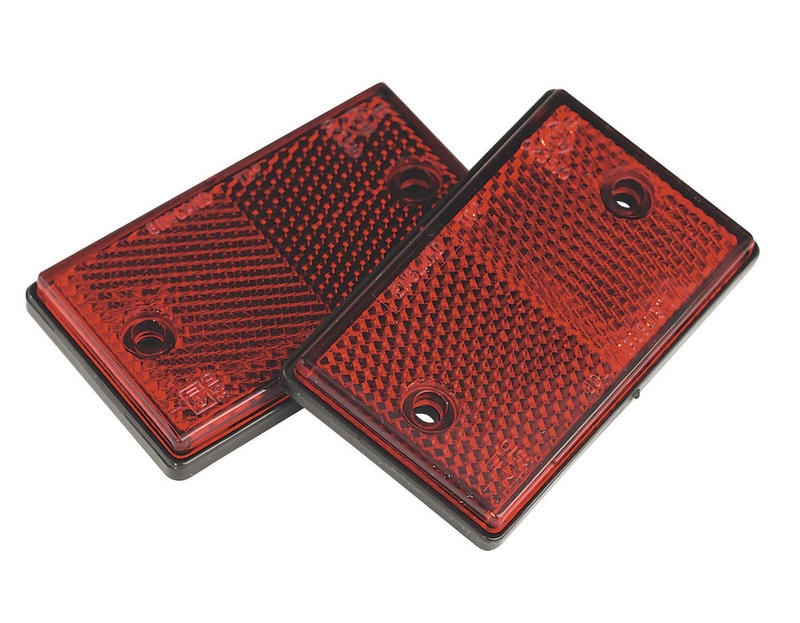 TB24 Pair of E-Approved  Red Oblong Reflectors for Trailers Caravans Gateposts