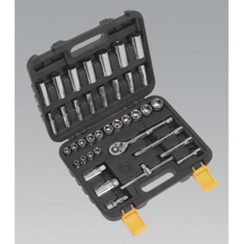 """Sealey Siegen  Socket Set 38pc 3/8""""Sq Drive 6pt WallDrive® Metric S0691"""