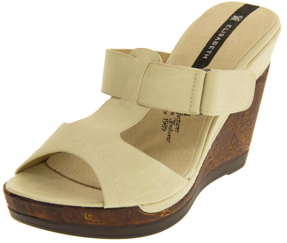 Ladies Elisabeth Peep Toe Wedge Leather Look Sandals