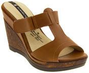 Ladies Elisabeth Peep Toe Wedge Leather Look Sandals Thumbnail 7