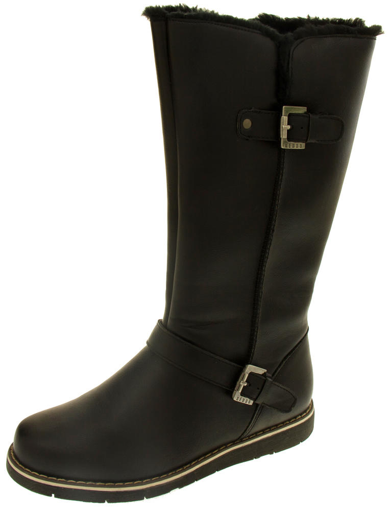 Womens KEDDO Luxury Winter Faux Leather Mid Calf Boots