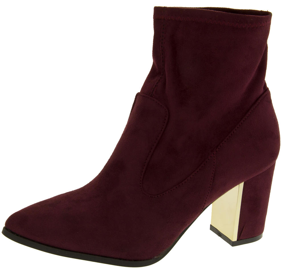 Ladies Poshh! Stretch Block Heel Ankle Boots