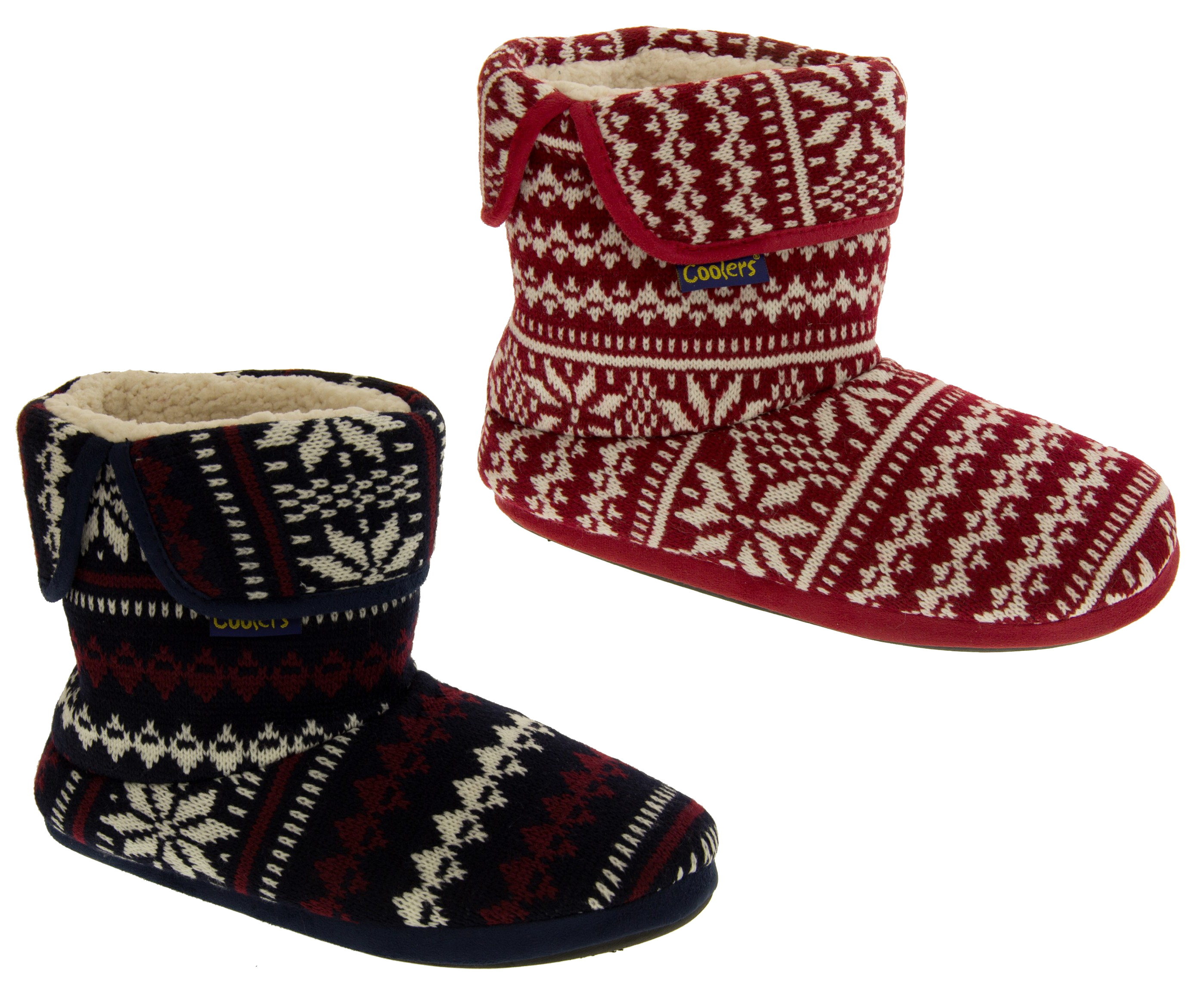 Mens Coolers Fairisle Boot Slippers Warm Faux Wool Lined Knitted