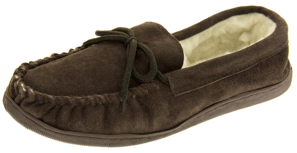 Mens Lodgemok Suede Leather Slippers Wool Moccasin Slippers
