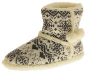 Ladies De Fonseca Fairlisle Knitted Slipper Boots