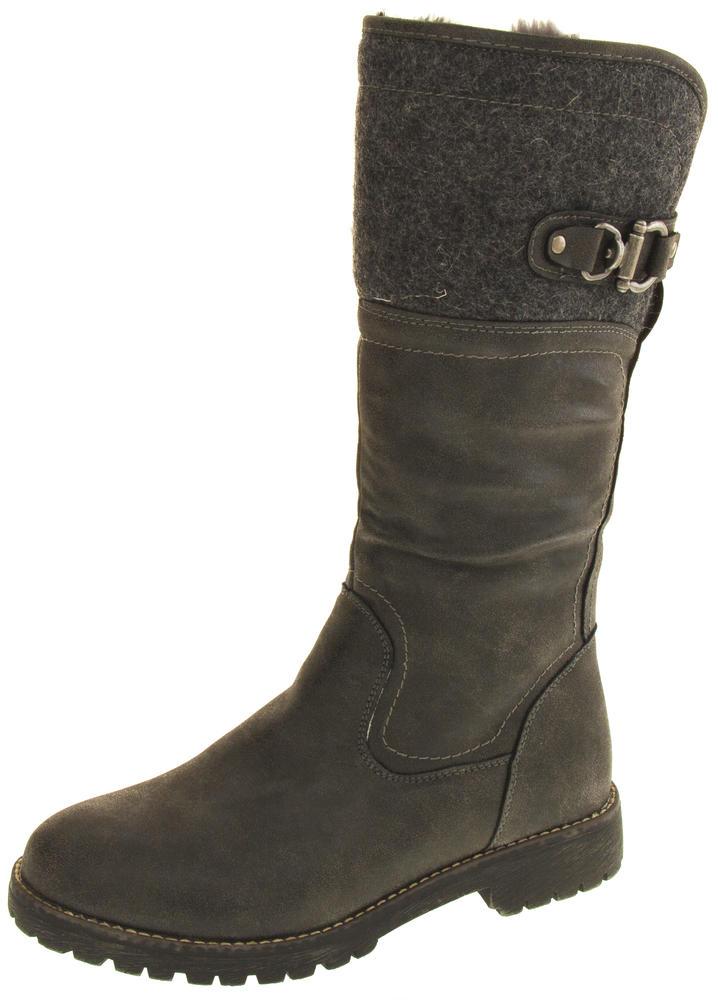 Ladies Keddo Faux Leather Fur Lined Biker Boots Womens