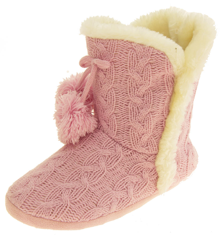 Ladies Dunlop Eleanor Cable Knit Faux Fur Slipper Boot Womens Comfy Slouch Boots