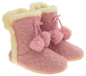 Ladies Dunlop Eleanor Cable Knit Faux Fur Slipper Boot Womens Comfy Slouch Boots Thumbnail 5