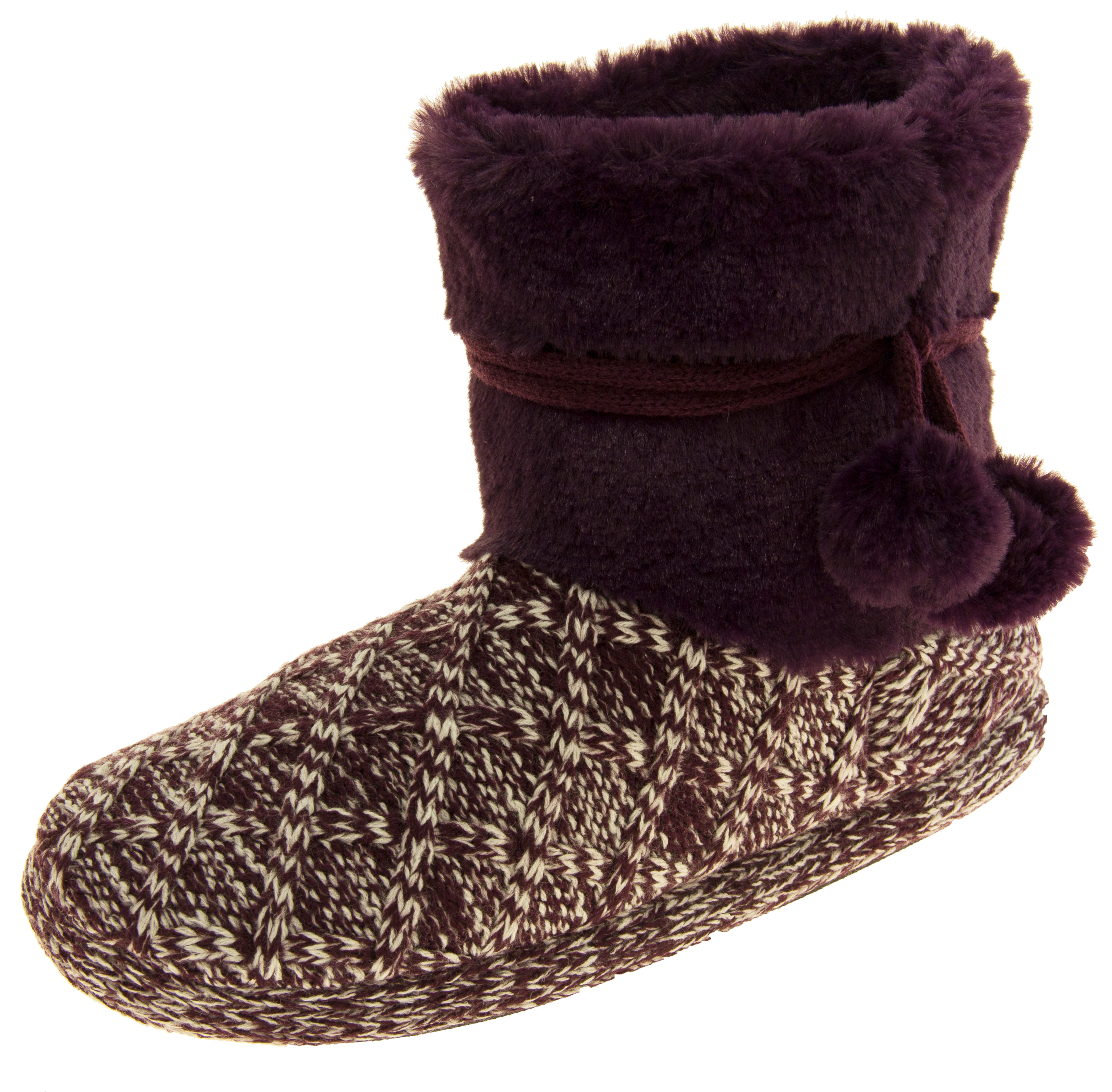 d9f3a35e072ea Details about Ladies Coolers Warm Fur Lined Knitted Pom Pom Slipper Boots  Sz Size 3 4 5 6 7 8